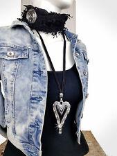 Lagenlook Modekette lang Herz Modeschmuck Damen Leder Hals Silber Anhänger NEU