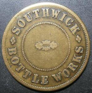 """Pub token - Southwick bottle works """"One Pint"""" - brass Sunderland 29.2mm"""