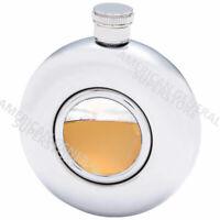 FLASK 5oz Round w/ Clear Window Stainless Steel Screw Cap Pocket Liquor Whiskey