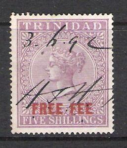TRINIDAD 1890 5/- QV 'FREE FEE' REVENUE (FFU)