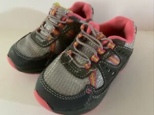 CARTER'S Toddler Girls Gray Pink Tennis Shoes Size 6 Leather Mesh VGUC
