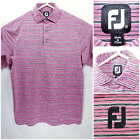FootJoy FJ Mens Medium Golf Shirt Polo Pink Black White Striped Polyester