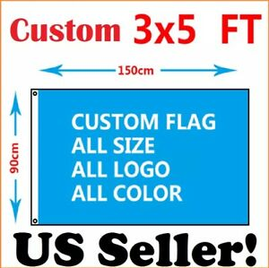 Custom Flag with Your Design, 3x5 feet size, Single Sided, with 2 Metal Grommets