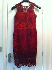 BNWT River Island Orange and Dark Red Lace Detail Bodycon Dress Size 10