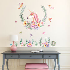 Wandaufkleber Einhorn Blumen Gro�Ÿlibellen Vogel Cartoon Wandbilder Sticker Deko