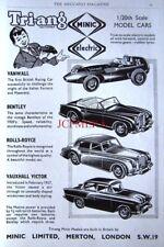 1959 Tri-ang MINIC Electric Cars AD Bentley, Rolls-Royce, Vanwall - Print ADVERT
