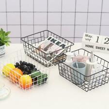 Metal Wire Storage Basket Bin Container Office Table Organiser Kitchen Z6N8