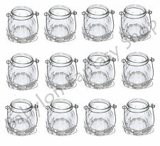Set of 12 Glass Hanging T-Light Holders - Outdoor/Indoor Candle Jar Lanterns