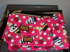 NWT BETSEY JOHNSON 3 PC POUCH *SPLISH STASH FUSCHIA* MAKEUP  COSMETIC BAG