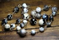Agate Green Black White 8 & 10mm Ball Gemstone Necklace .925 Sterling Silver 20""