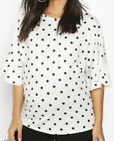 Boohoo Maternity Pregnancy Top Blouse Polka Dot White Frill Short Sleeve T-Shirt