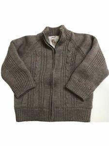 Jacadi Boy's Brown Cable Knit Fleece Full Zip Cardigan Sweater 4 Orig.$129