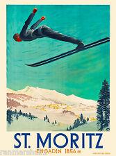 St. Moritz Switzerland Suisse Ski Snow II European Travel Advertisement Poster 9