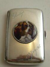 SILVER HALLMARKED 1923 PICTORIAL ENAMEL SPANIEL DOG