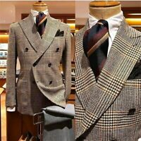Houndstooth Wool Peaked Lapel Blazer Men Coat Double Breasted Suits Tuxedo
