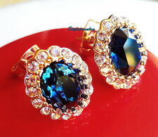 Rose Gold Fill Made with Swarovski Crystal Oval Blue Sapphire Stud Earring IE92