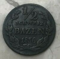 1836 Switzerland Canton Grisons 1 One Batzen - Silver