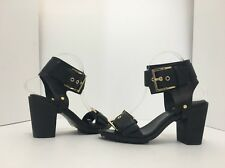 Rachel Zoe Reeve Black Leather Women's High Heels Sandals Size 6.5 M