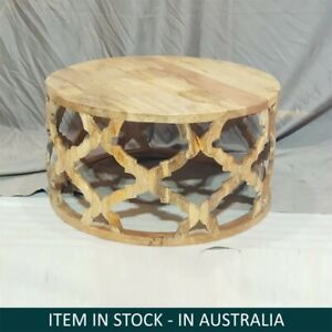 IN STOCK - Bristol Floral Carved Round Coffee Table Natural 80 x 80 x 40 cm