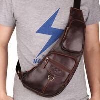100% Genuine Leather Men's Crossbody Bag Shoulder Bags Sling Backpack for Hiking