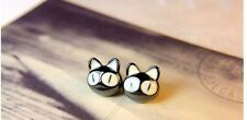 Pair Black cat cute stud earrings handcrafted butterfly gift  UK lucky big eyes