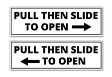 HORIZONTAL B&W PULL SLIDE TO OPEN DOOR STICKERS- TAXI, MINIBUS, COACH STICKERS