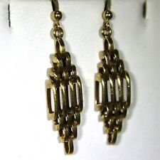 Quality Rhombus Gate Link 9ct Rose Gold drop stud earrings