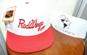 90's DETROIT RED WINGS Snapback NHL Hockey Hat Cap VINTAGE WHITE NWT NEW TAGS