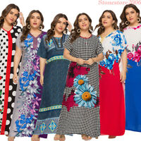 Dubai Abaya Women Muslim Printed Maxi Long Dress Loose Arab Kaftan Jilbab Robes