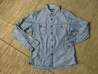 Obey Adult Mens Large Chambray Button Up Shirt Long Sleeve Blue