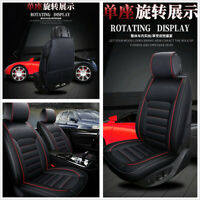 Set Universal 5D Surround Deluxe Edition PU Leather Autos Seat Covers Pads Black