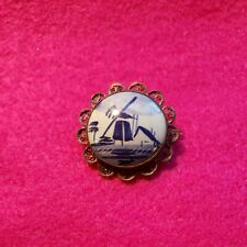 """Vintage Delft Holland Windmill 1 3/4"""" ROUND SILVER PORCELAIN BROOCH PIN C clasp"""