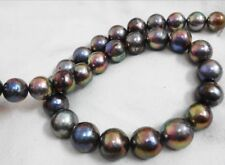 """HUGE 18""""13-16MM SOUTH SEA GENUINE BLACK MULTIC NUCLEAR ROUND PEARL NECKLACE"""