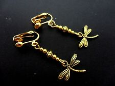 A Pair Of Pretty Little Gold Colour Dangly Dragonfly Clip On Earrings. New.