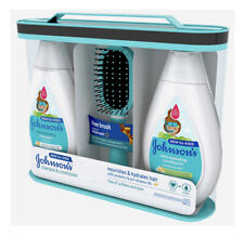 Johnson's Ultra-Hydrating Kids Hair Set Shampoo, Conditioner + Brush 13.6 oz ea