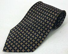 LN Enrico Bertucci Styled in Italy 100% Silk Blue Brown Gold Check Squares Tie