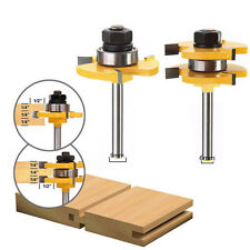 """2x Tongue & Groove Router Bit Set 3/4"""" Stock 1/4"""" Shank Cutter For Woodworking"""
