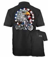 Velocitee Speed Shop Mens Polo Shirt USA Classic Motorcycle & Eagle Biker A00237