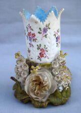 German Porcelain Flowers Relief Bridal Small Vase 19th C