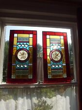 More details for 2 x victorian stained glass panels rampant lion central motif,