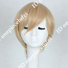 Short Light Blonde Onepiece Sanji Anime Cosplay Party Wig CC189+a wig cap
