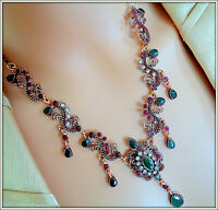 MULTI GEMSTONE HANDCRAFTED ANTIQUE GOLD NECKLACE FOR LADY'S TURKISH JEWELRY