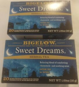 (2) Bigelow Sweet Dreams Herbal Tea Chamomile Mint 40 bags - Exp. March 2024