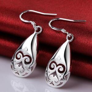 Womens 925 Sterling Silver Elegant Filigree Teardrop Drop Dangle Earrings #E256