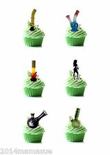 30 PRECUT BONG PIPE SKUNK WEED CANNABIS STAND UP CUPCAKE CAKE RICE CARD TOPPERS