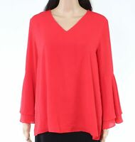 Alfani Women's Blouse Red Size 10 Bell-Sleeve Tiered Ruffle V-Neck $69 #042