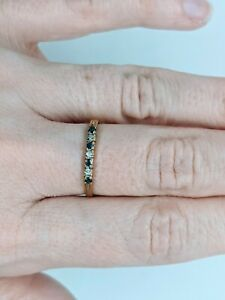 Vintage 9ct 375 Yellow Gold Sapphire & Cubic Zirconia Wedding Band Stacker Ring
