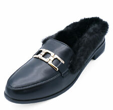 WOMENS FLAT BLACK FUR LINED SLIP-ON SMART MULES LOAFERS SLIDERS SHOES SIZES 3-8