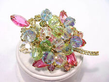 D & E Juliana Vintage Pin All Pastels Rhinestones and Dangling Crystals Book Pc