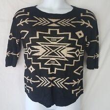 J.Jill Sweater size S black tan linen blend womens indian tribal design